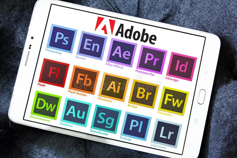 Adobe programs icons. Icons and logos of adobe programs on samsung tablet. programs like photoshop, encore, after effects, premiere pro, indesign, flash stock photos