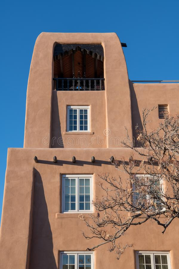 Adobe pueblo style architecture in Santa Fe, New Mexico royalty free stock photo
