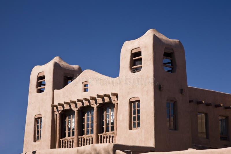 Adobe style. Building, Santa Fe in New Mexico, USA, blue sky royalty free stock photography