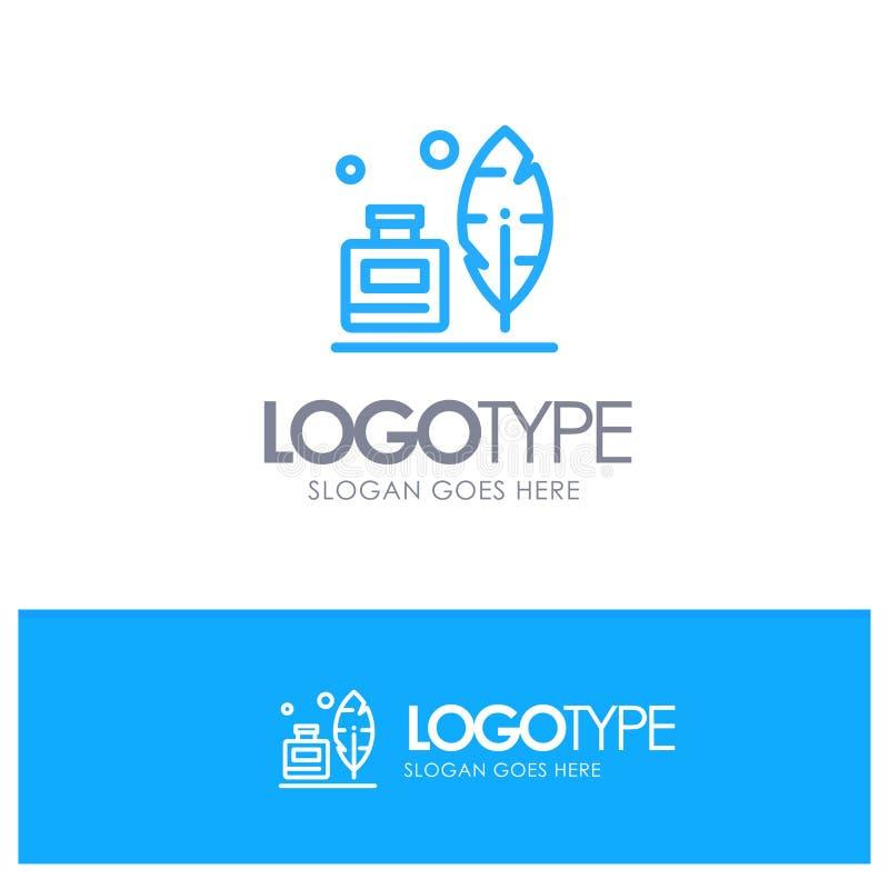 Adobe, Veer, Inkbottle, Amerikaans Blauw Overzicht Logo Place voor Tagline vector illustratie