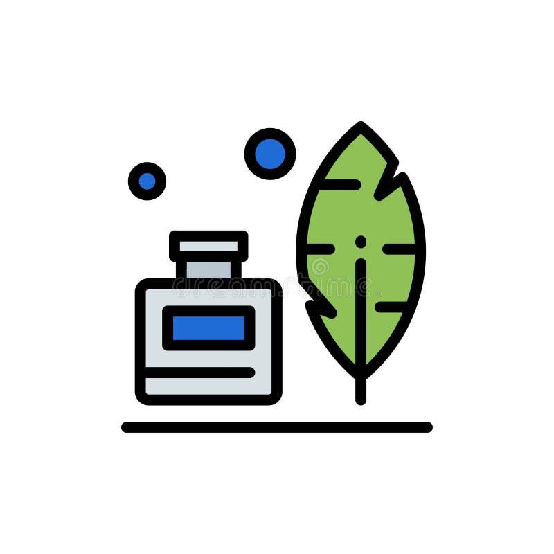 Adobe, Veer, Inkbottle, Amerikaans Vlak Kleurenpictogram Het vectormalplaatje van de pictogrambanner vector illustratie