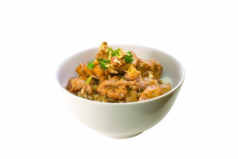 Adobo filipino del pollo con arroz imagenes de archivo
