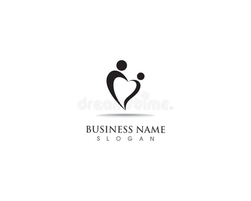 Adobtion e ícone do vetor do molde do logotipo dos cuidados comunitários ilustração royalty free