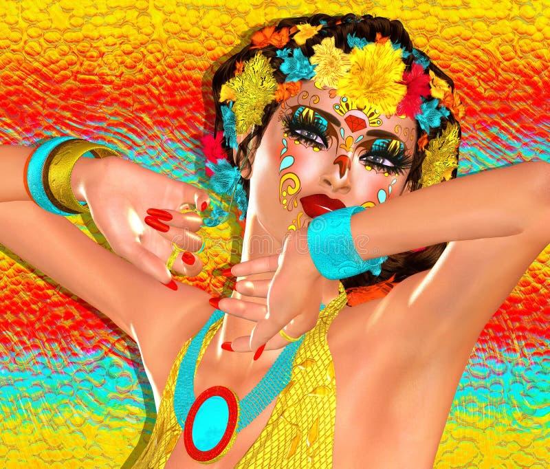 Adoce a composição do crânio do la Santa Muerte, máscara mexicana floral colorida, dia dos mortos Fim acima fotografia de stock royalty free