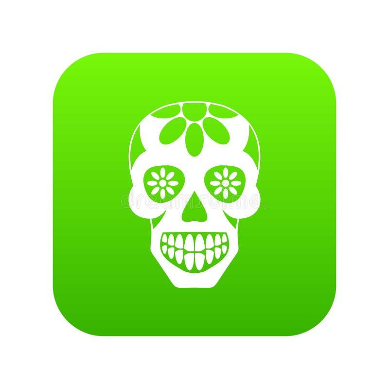 Adoce o crânio, flores no verde digital do ícone do crânio ilustração royalty free