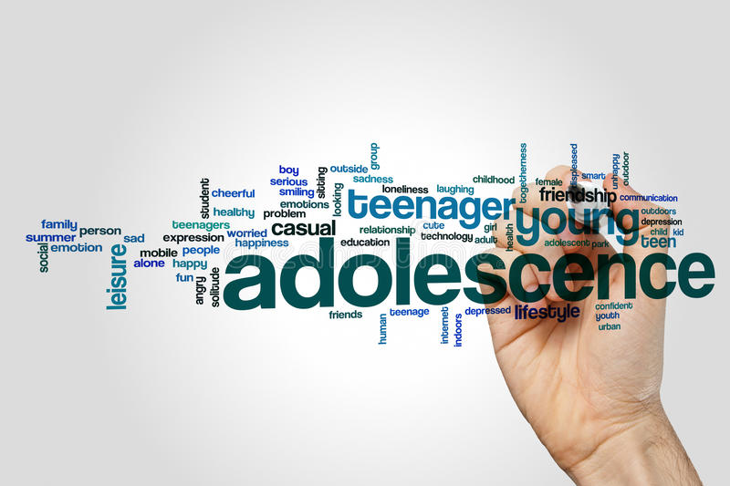 Adolescence word cloud concept on grey background.  stock images