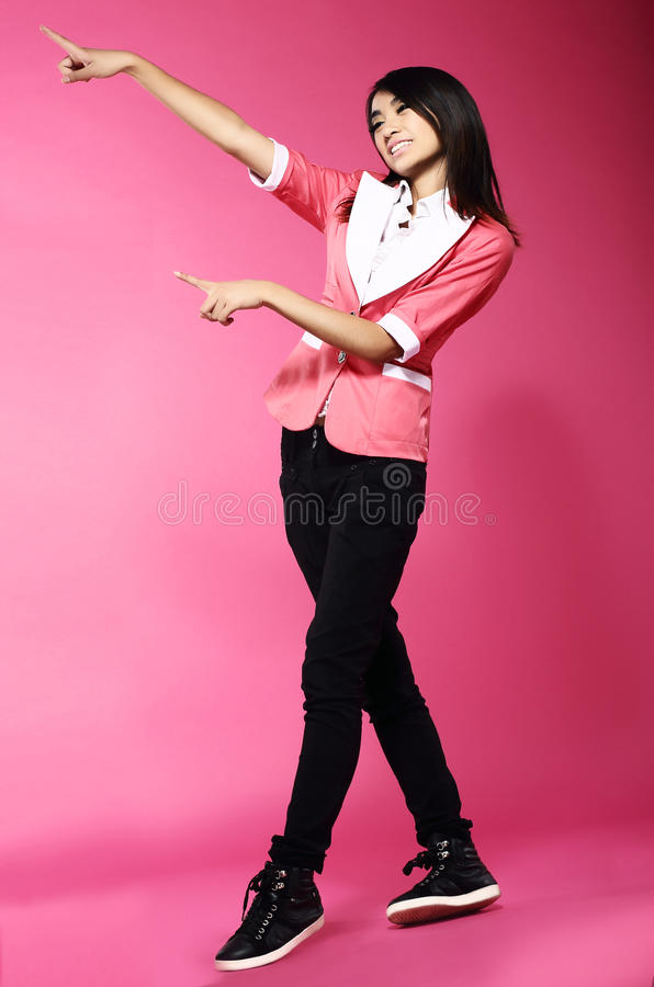 Download Adolescence. Young Funny Asian Woman Gesturing With Her Hands Stock Image - Image: 33032395