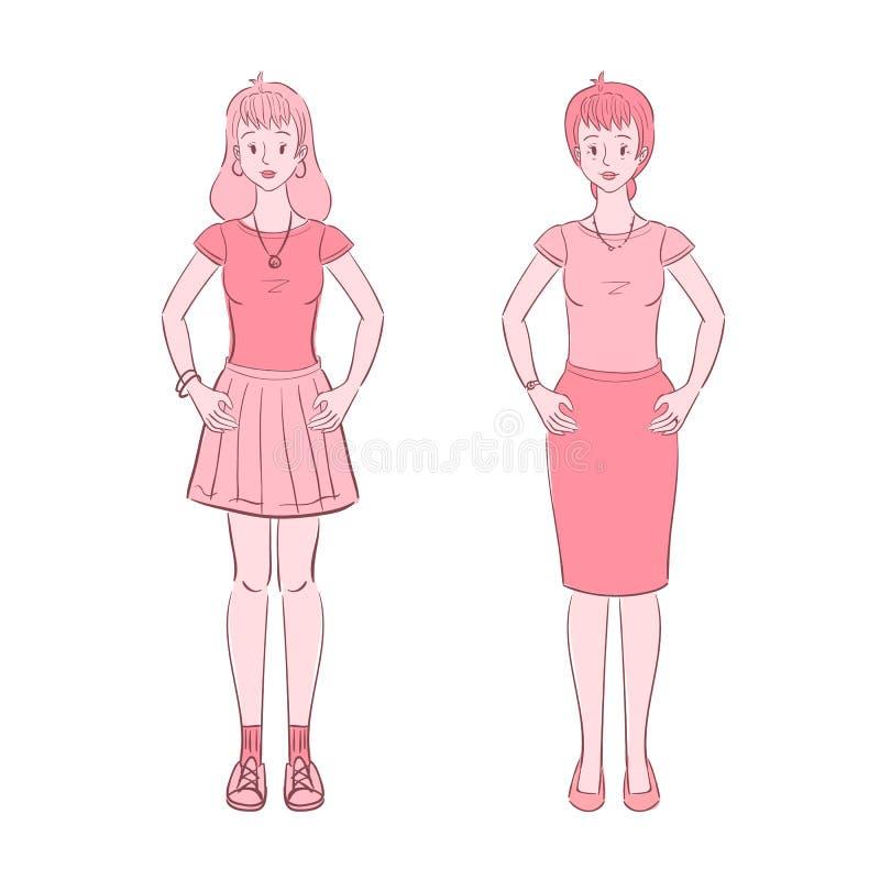 Adolescencia joven y mujeres envejecidas medias libre illustration