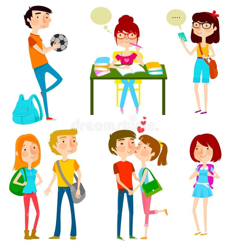 Adolescencias felices stock de ilustración