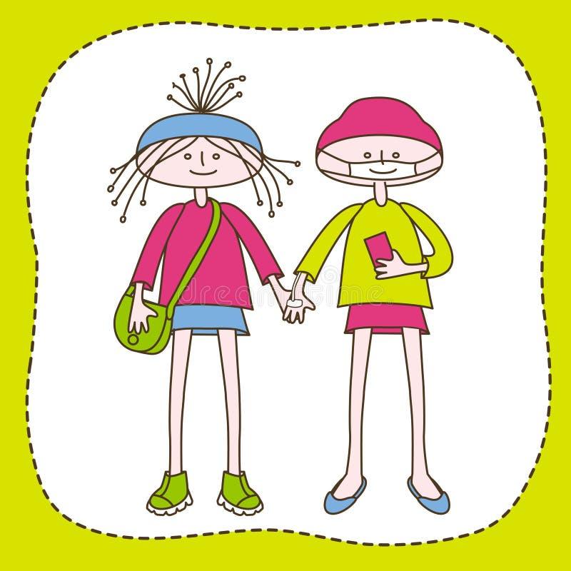Adolescencias sanas y discapacitadas ilustración del vector