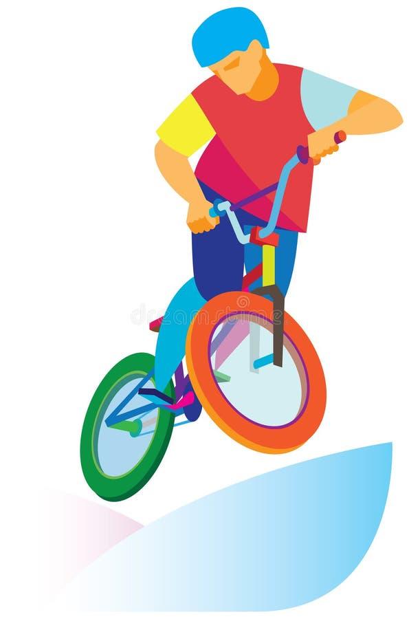 Adolescent courageux sautant sur un vélo illustration libre de droits