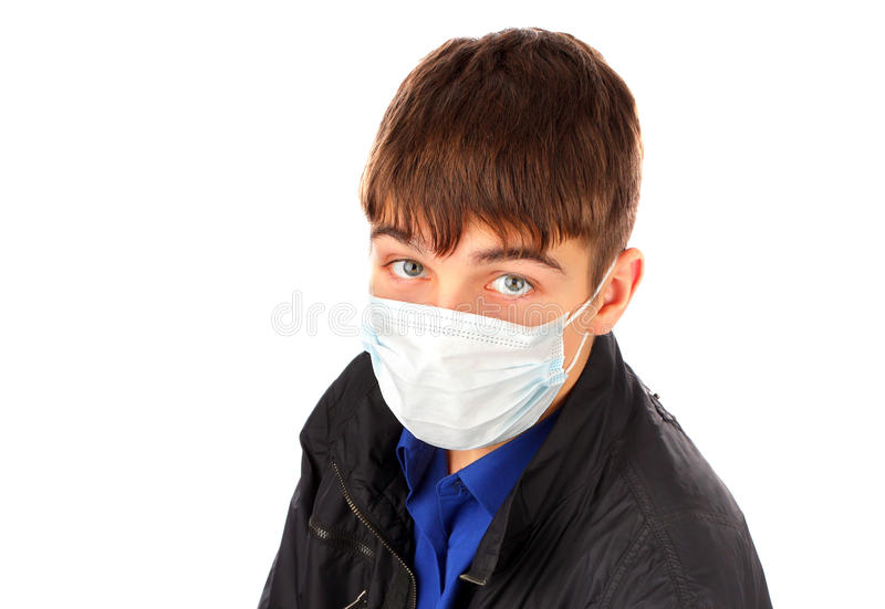 Download Adolescent Dans Le Masque De Grippe Photo stock - Image du isolement, triste: 56485010