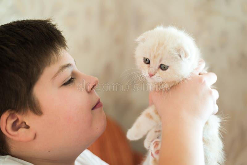 Adolescent de garçon tenant le chaton dans des ses bras photos libres de droits