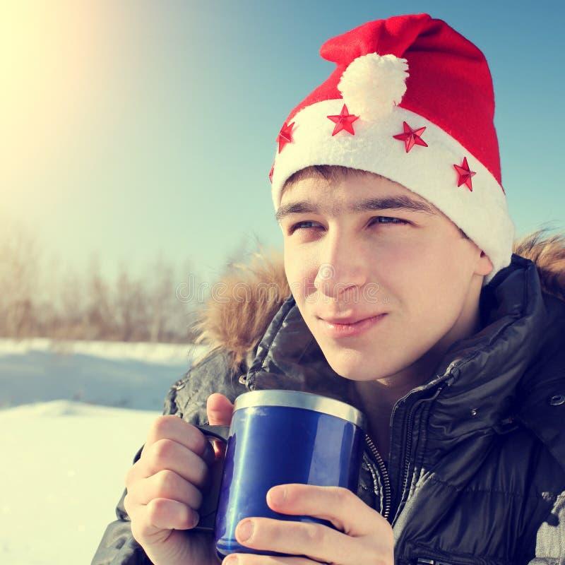 Download Adolescent en Santa Hat photo stock. Image du beau, visage - 45367566