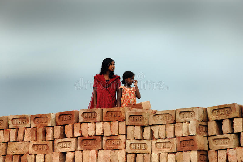 Download Adolescent Girl In Brick-field Editorial Image - Image of bengal, photography: 20029730