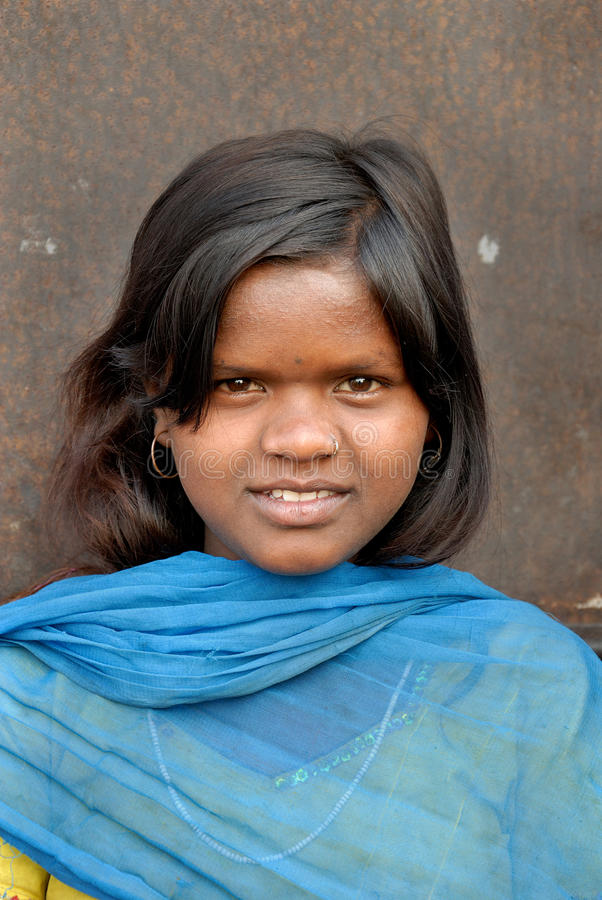 Adolescent Girl at the Jharia coalfield area. A close portrait of a Adolescent Girl at the Jharia coalfield area royalty free stock photo