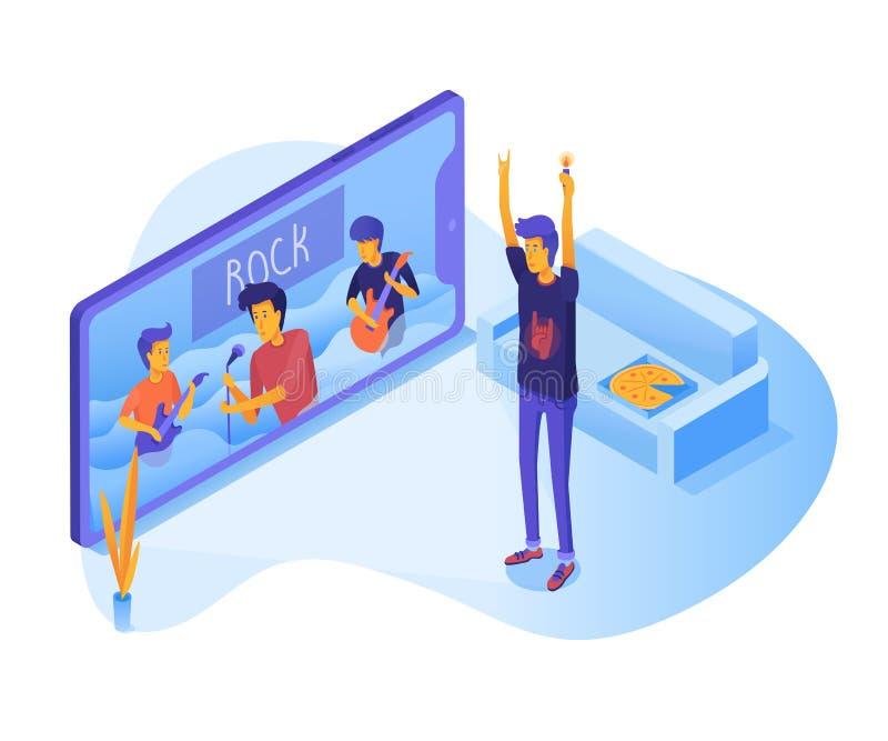 Adolescent observant l'illustration vivante de vecteur de concert illustration de vecteur