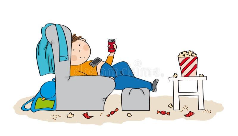 Adolescent paresseux s'asseyant dans le fauteuil, TV de observation illustration libre de droits