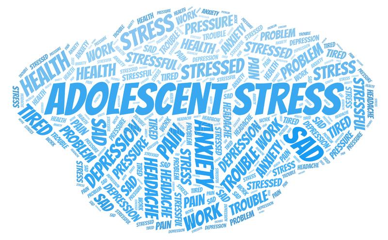 Adolescent Stress word cloud. Wordcloud made with text only stock photo