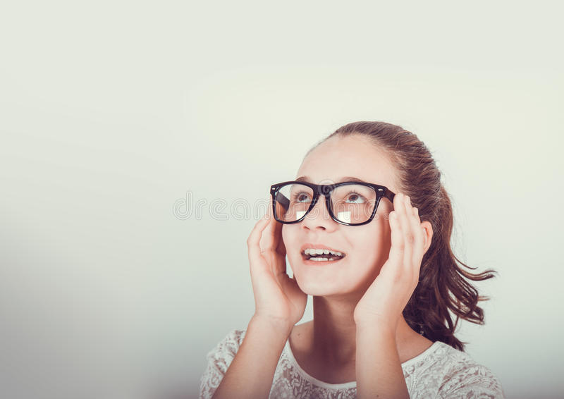 Adolescent to look up. Beauty adolescent to look up stock photo