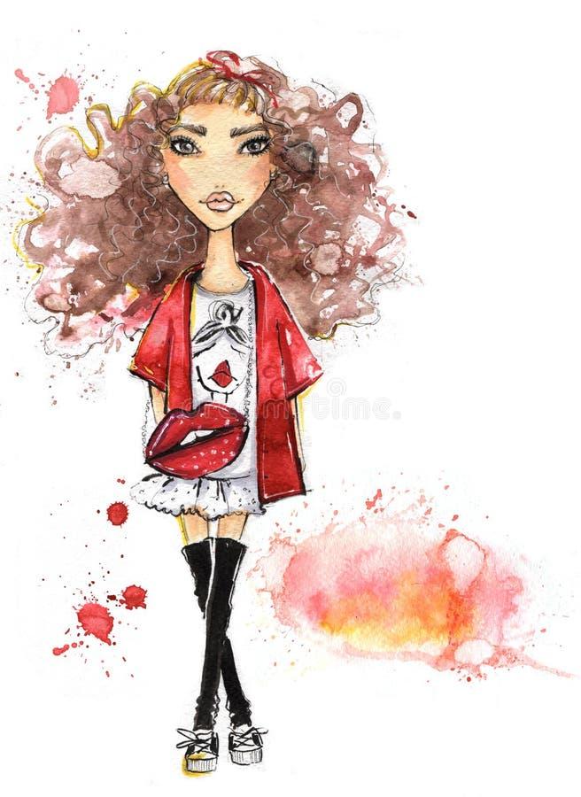 Adolescente à la mode illustration stock