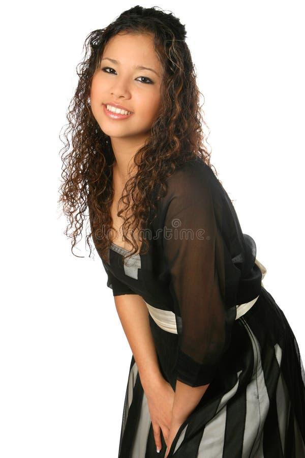 Adolescente étnico no vestido formal fotos de stock