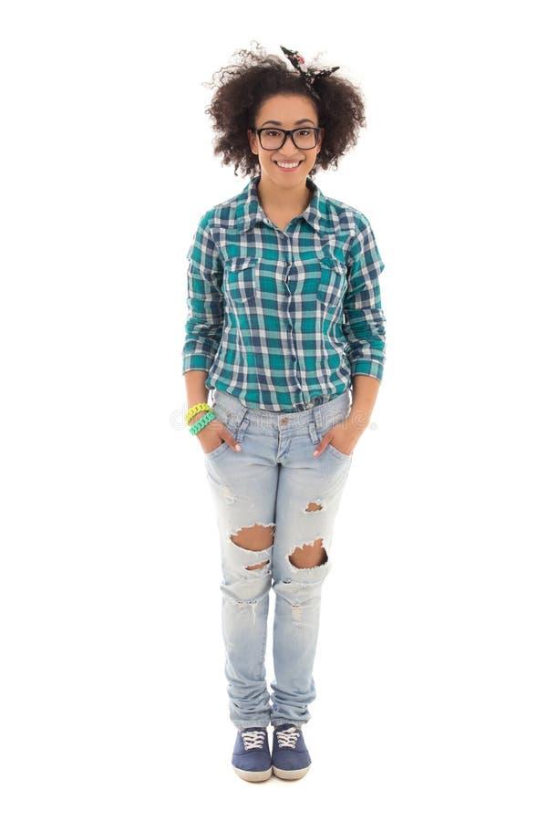 Adolescente afro-americano bonito de sorriso no branco fotos de stock royalty free