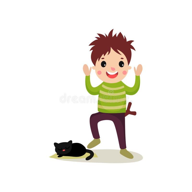 Adolescente alegre que vai pisar na cauda do gato s, conceito mau do comportamento do menino ilustração royalty free