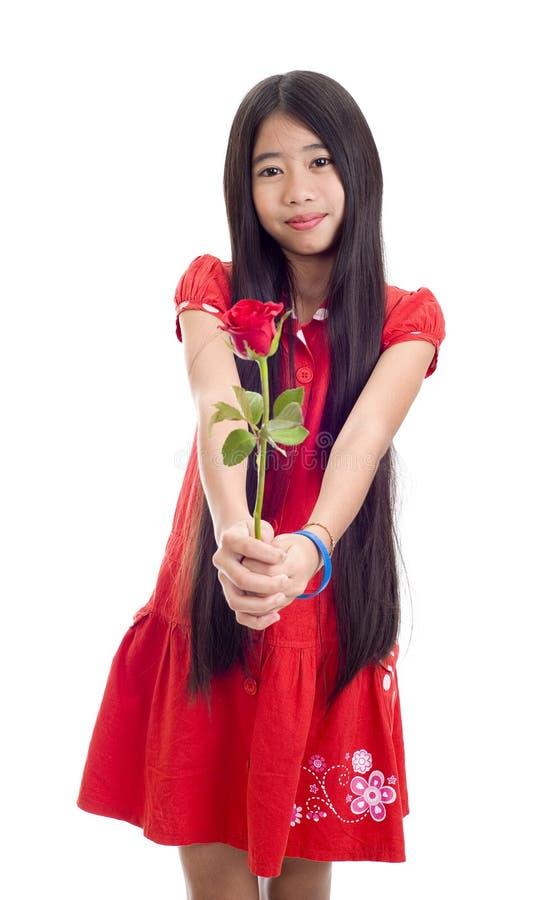 Download Adolescente Asiático Que Prende Uma Rosa Foto de Stock - Imagem de atrativo, carrinho: 16865126