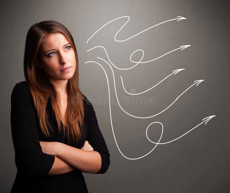Adolescente atractivo que mira flechas rizadas múltiples ilustración del vector