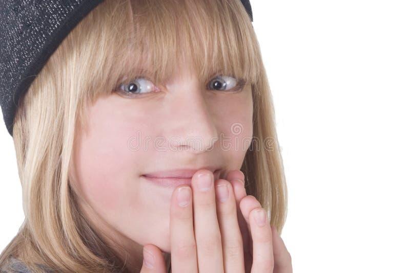 Adolescente biondo di risata fotografia stock libera da diritti