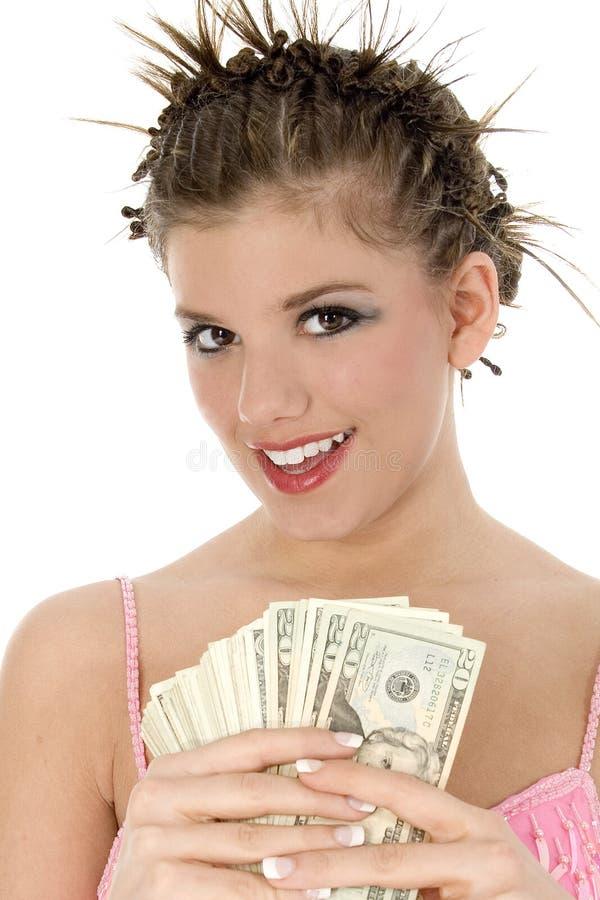 Adolescente bonito com dinheiro fotos de stock royalty free