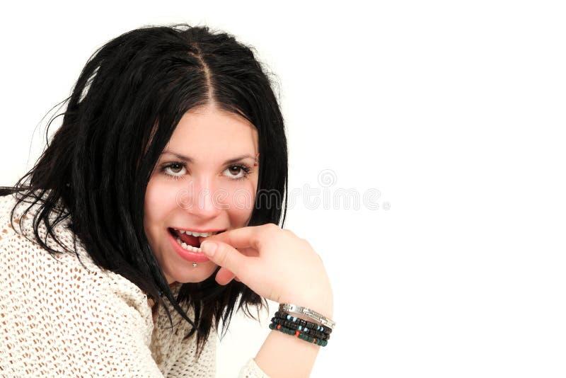 Adolescente bonito com perfurações da face fotografia de stock royalty free