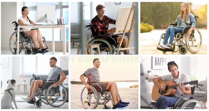 Adolescente bonito na cadeira de rodas fora foto de stock royalty free