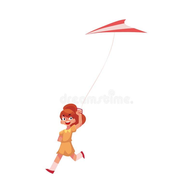 Adolescente bonito que corre com voo colorido do papagaio no céu ilustração do vetor