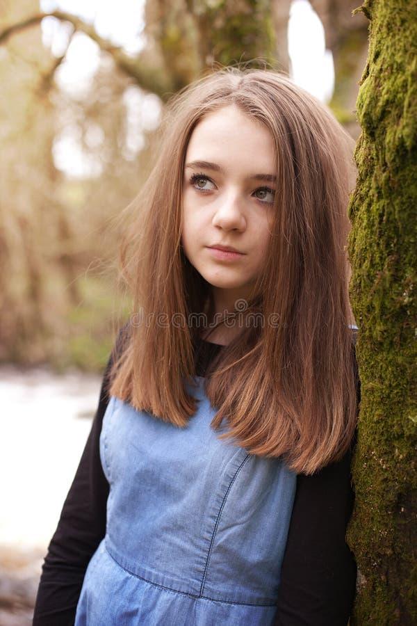 Adolescente bonito que olha para cima enquanto inclinando-se contra uma árvore imagem de stock