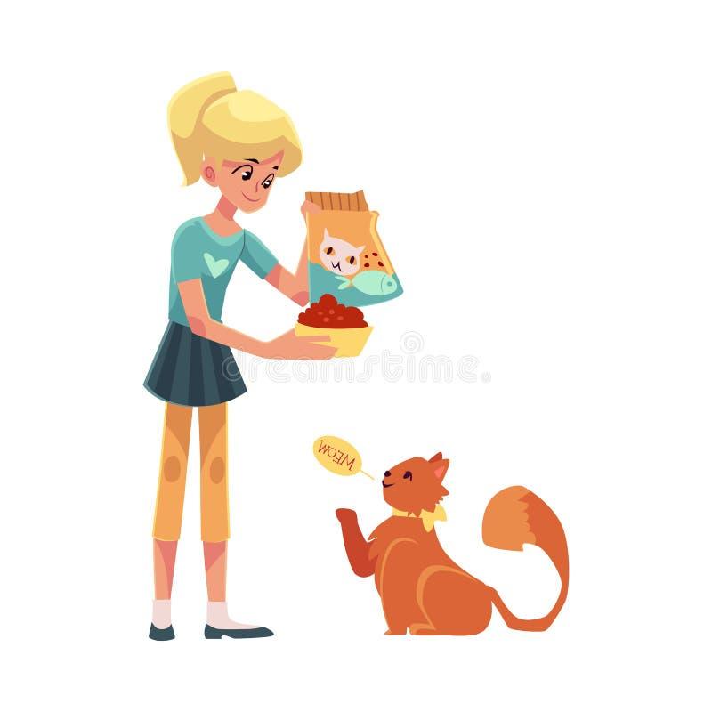 Adolescente che dà alimento al suo gatto rosso lanuginoso illustrazione vettoriale