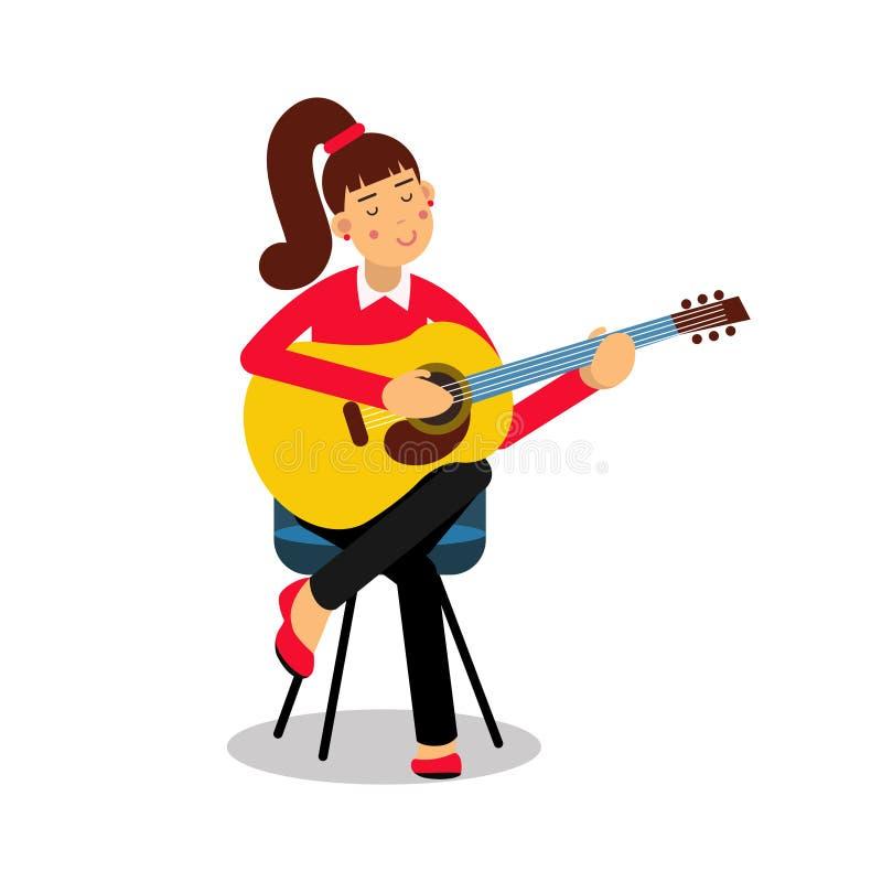Adolescente che gioca un'illustrazione di vettore del personaggio dei cartoni animati della chitarra acustica illustrazione vettoriale