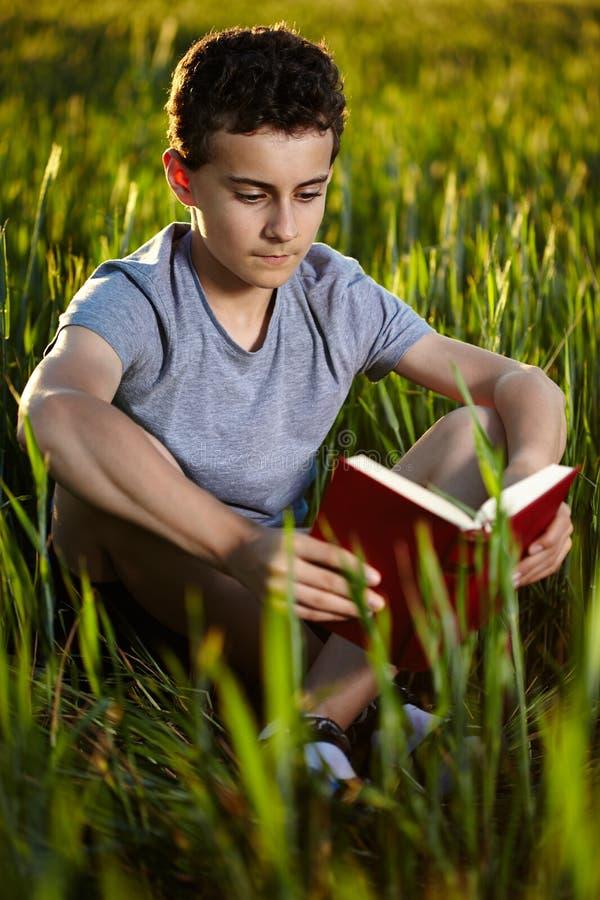 Adolescente che legge un libro al tramonto immagine stock