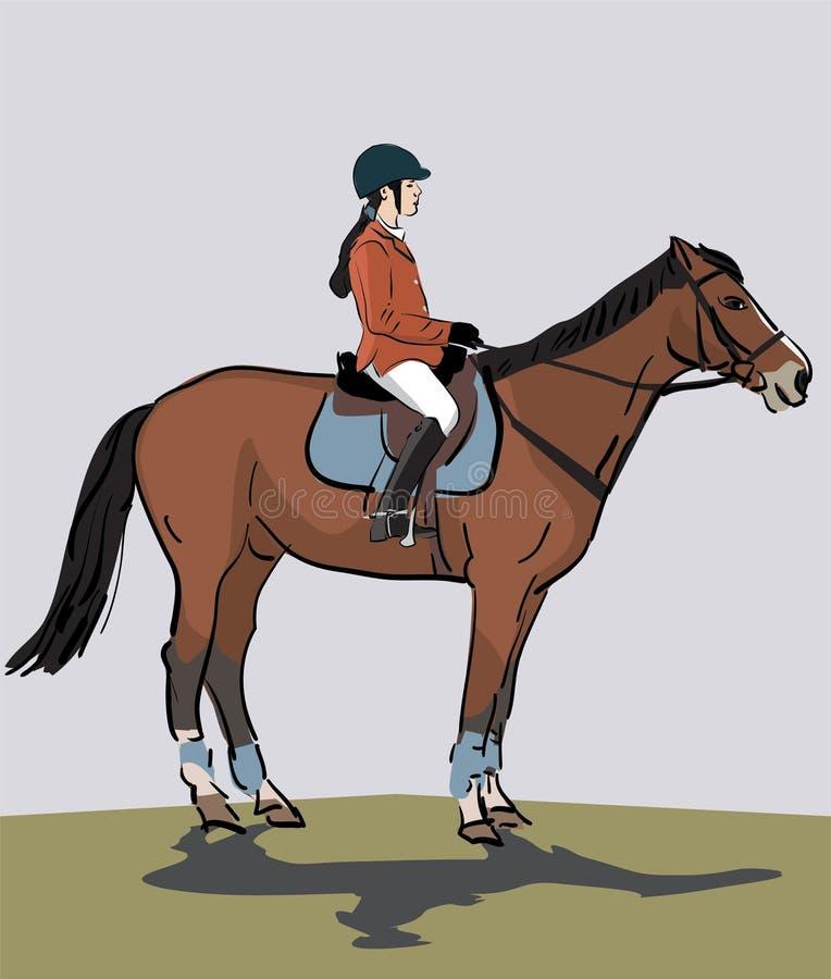 Adolescente che monta un cavallo illustrazione vettoriale