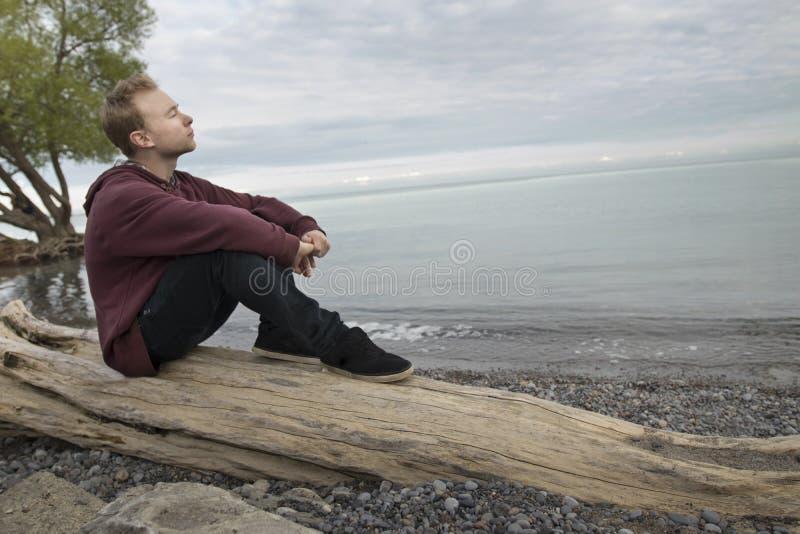 Adolescente che si siede sul ceppo e sul pensiero immagine stock