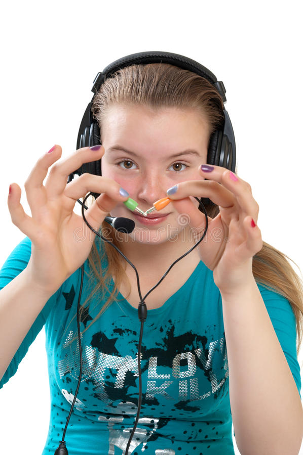 Download Adolescente Com Auscultadores Foto de Stock - Imagem de olhos, lazer: 16852062