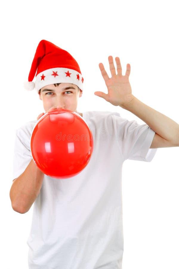 Adolescente com balão vermelho fotografia de stock royalty free