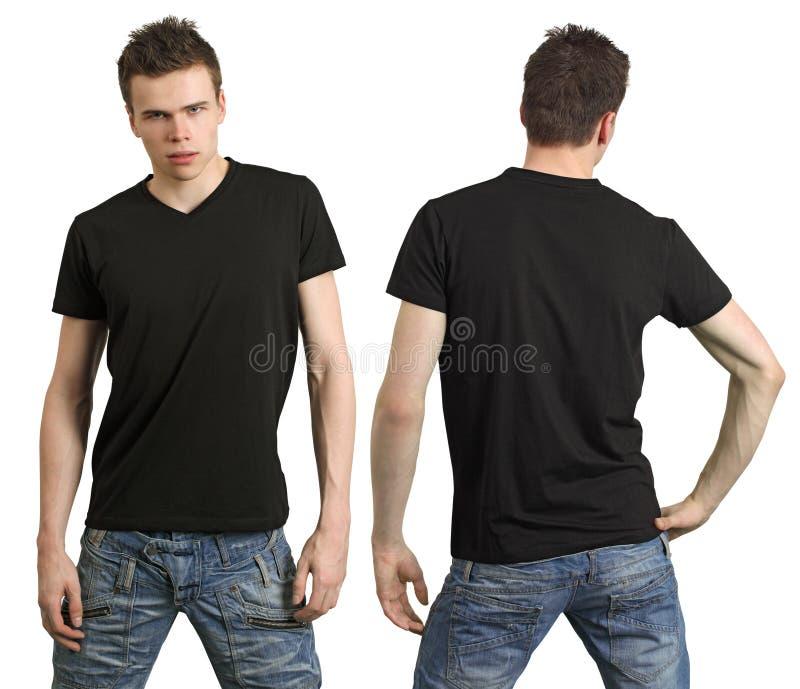 Adolescente com a camisa preta em branco imagem de stock