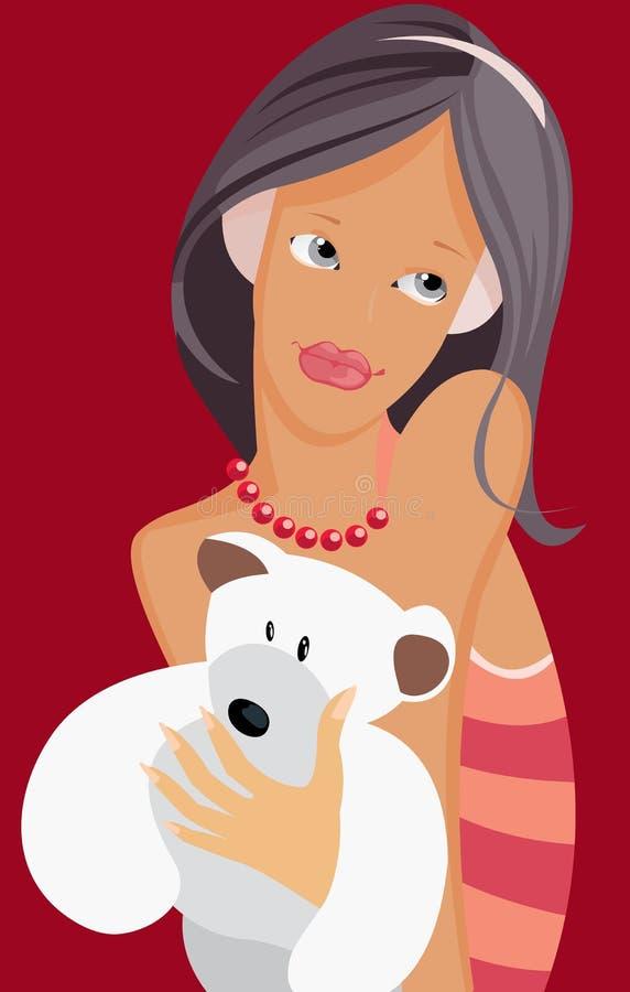 Adolescente com carregar-filhote ilustração royalty free
