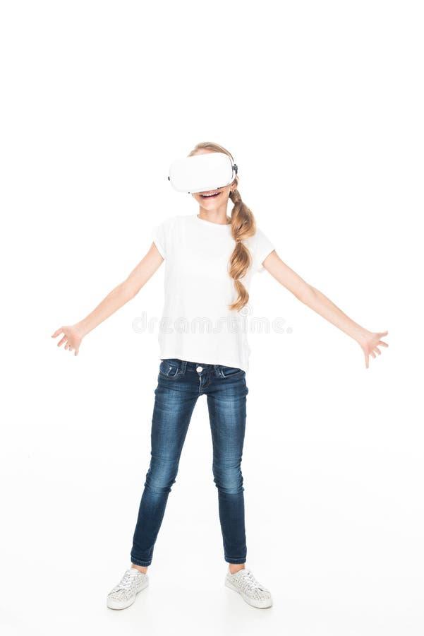 Adolescente com os auriculares da realidade virtual imagens de stock