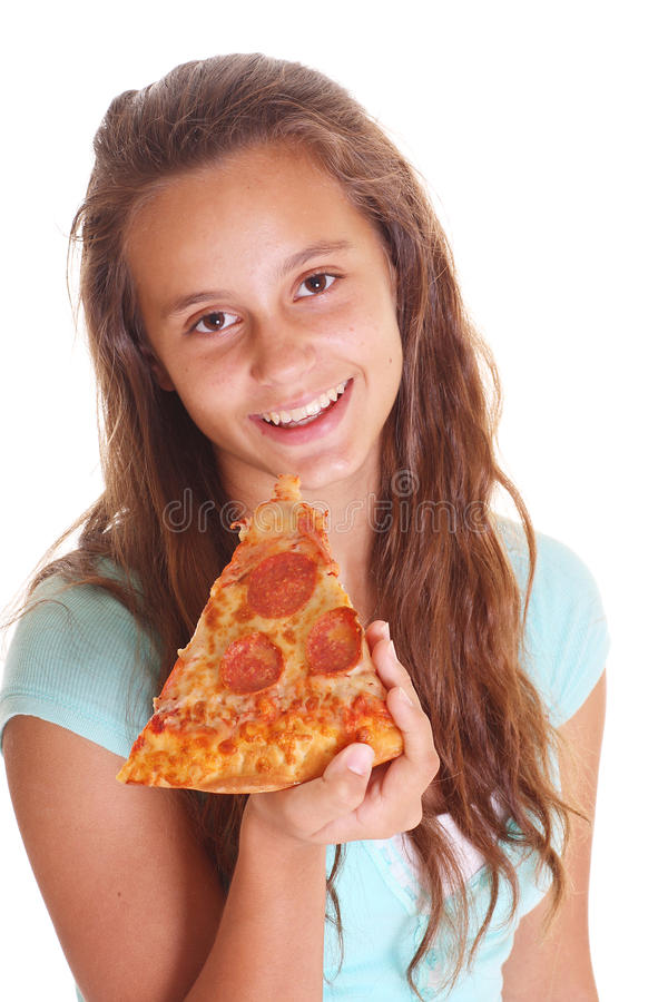 Adolescente com pizza fotos de stock
