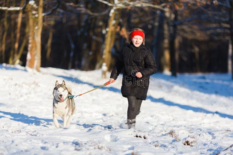 Adolescente com um cão ronco fotografia de stock