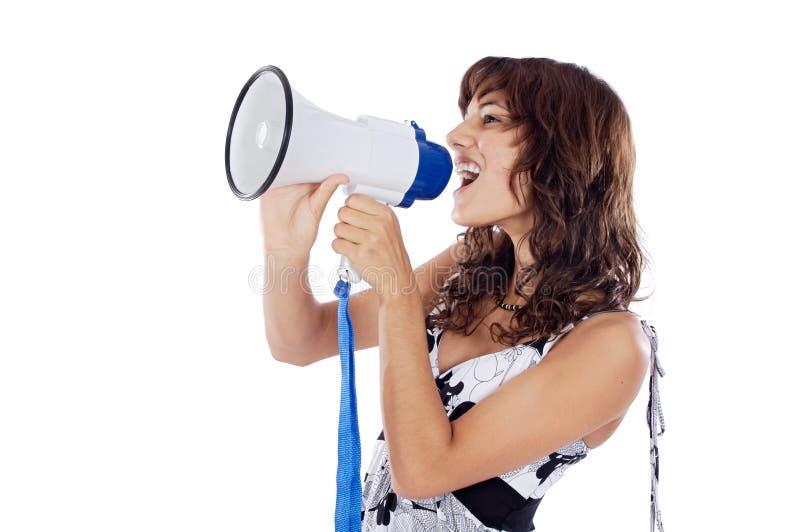 Adolescente con il megafono fotografia stock libera da diritti