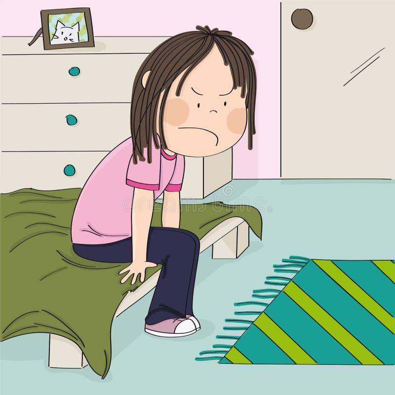 Adolescente contrariée et malheureuse s'asseyant sur le lit dans sa pièce d'enfants, pensant à l'injustice de sa vie adolescente illustration de vecteur